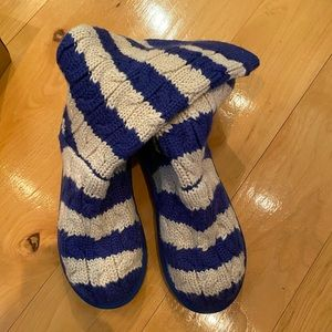 UGG cable knit stripe boots blue white youth 5